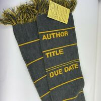 Out of Print Knit Scarf Yellow and Grey Library Card Design Book Lover/Librarian
