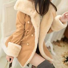 Winter Women Warm Jacket Double-Breasted Turn-down Collar Coat Wool Blend USPS