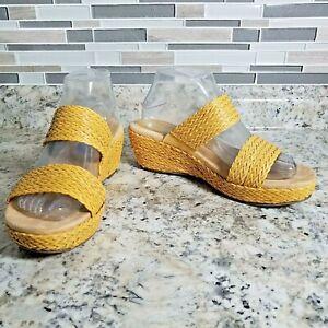 Anne Klein Sandal 7 Medium Zala Yellow Woven Espadrille Wedge Heel Shoes Slip On