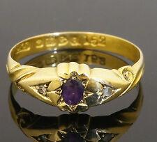 18carat Antico Oro Giallo Ametista & diamanti tre anello di pietra (dimensioni Q 1/2)