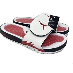 Jordan Slides Hydro V Retro 5 Mens Size 11 White Fire Red Black Sandals New