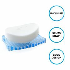 Plastic Soap Dish: Light Blue Soap Saver for Shower & Tubs - Water Dries Faster!