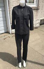 Vintage Jaeger LONDON Charcoal Gray Cotton Tweed 2 Pc Womens Pant Suit Size 12