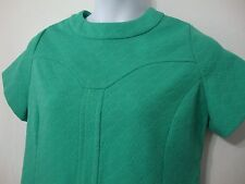 Vintage 60s Tagless Womens sz 14 Mod Dress Green Floral Double Knit Knee Length