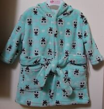 Girls Baby Kiss Plush Luxe Very Soft Owl Hearts Bath Robe 0-9M Nwt