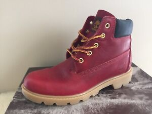 Timberland Genuine Leather Burgundy/Red Boots Size US 4.5 W/box