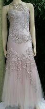 SUE WONG NOCTURNE Dusty Pink Sexy Princess Gown sz 4 Beaded Embroidery Beautiful