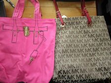 MICHAEL KORS TAN CANVAS INITIAL LEATHER TRIM TOTE PURSE W/ BONUS SHOPPING BAG
