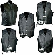 MOTORCYCLE VEST GENUINE LEATHER - BLACK