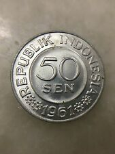 (JC) Indonesia Aluminium 50 Sen (Cents) Coin 1961 - UNC
