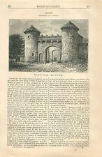 Porte du Val de Flavigny-sur-Ozerain Côte-d'Or Bourgogne GRAVURE OLD PRINT 1870