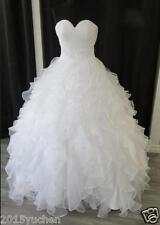 Plus Size White/Ivory Ruffles Bridal Gowns Wedding Dresses Organza Custom Size