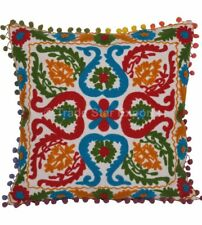 Decorative Vintage Cushion Covers Suzani 16x16 Embroidered Handmade Pillowcases