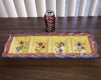 Sue Zipkin Brightly Painted Floral 4-Part Ceramic Relish Tray by Certified Intl.