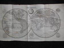 Georgian World Map (1822) New Holland (Australia) Asia, Europe, America - Rare