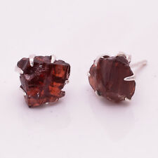 925 Sterling Silver Earrings, Natural Raw Garnet Handcrafted Jewelry RSSE20