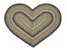 "IHF Home Decor Braided Rug Heart Shaped 20"" X 30"" Jute Dartmouth Design"
