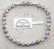 Bracciale tennis oro bianco 18k donna,braccialetto colorato multicolore SW