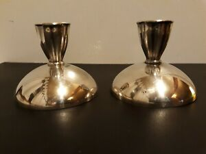 """ONEIDA SILVERSMITHS Small Round Silver Plate Candle Holders 2 1/2"""" Tall 3"""" Diam"""