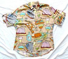 Vtg Jams World Rayon Hawaiian Shirt L Large French Food Writing Wine Cheese Fish