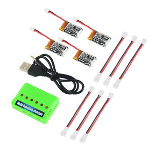 4x 220mAh 3.7V 1S LiPo Battery 35C Charger Cable for JJRC NH010 RC Quadcopter