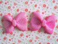 2 x Large Sparkly Cerise Pink AB Resin Bows Flatback Embellishment Cabochon UK
