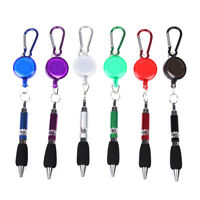 Retractable Badge Reel Ballpoint Pen Belt Clip Key chain with Carabiner Key rE3R