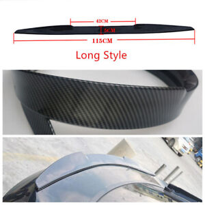 Car Trunk Lid Spoiler Wing Sticker Self-adhesive Glossy Carbon Fiber Style Trim