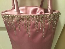 Pink Beaded Satin Look Bucket Type Drawstring Purse Beading Top One Side Party