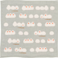 HAMAMONYO Japanese Towel  'Playful Java Sparrows'  (25cm×25cm Soft Touch Towel)