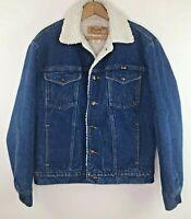 Vintage Wrangler Denim Sherpa Lined Trucker Jean Jacket S Blue White Lining