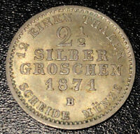 1871 B German States - Prussia 2 1/2 Silber Groschen, Silver, KM-486.