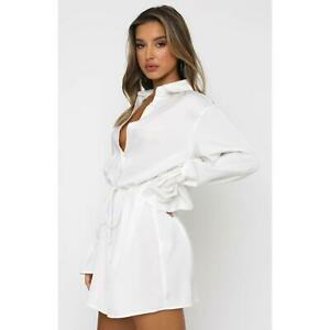 Women's Lace Up Loose Casual White Shirt Dress Tops Lapel Sexy Slim Button Front