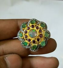 Victorian Design Emerald,Ruby,Opal Gemstone With Diamond Fancy Ring 925 Silver