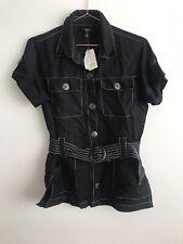 River Island Size 10 Black Mod Short Sleeve Denim Buttons 60s Belt Top Linen