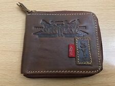 Levi's RARE Bi Fold Zip Around Leather Wallet - Brown - Used