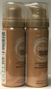 Lot of 2 Maybelline New York Dream Nude Airfoam Foundation, Nude, 1.6 Ounce