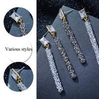 Fashion Trendy Earrings Women Crystal Long Tassel Ear Stud Drop Dangle Earrings