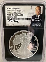 2020-W V75 Silver Eagle WWII NGC PF70 UCAM Moy Signed First day Releases Rare!