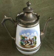 Antique AMERICAN GRANITEWARE COFFEE POT w/ Castle Scene