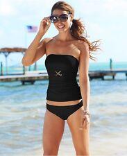 NWT Michael Kors BANDEAU TANKINI Swimsuit 2 Pc-Set Size XS Color BLACK MSRP $124