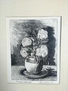 Giovanni Bernardi (1904 Galliera Veneta) Rose Bianche acquaforte 32x24 incisione