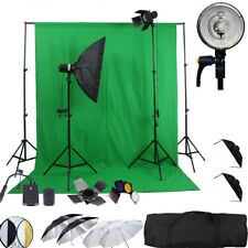 KIT 2X150W FLASH STROBE WIRELESS UMBRELLA STUDIO LIGHT BACKGROUND DSLR CANON NIK