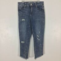 Seven7 Womens High Rise Ankle Skinny Jeans 14 W 14W Distressed Frayed Raw Hem
