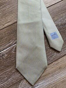 Hermes Silk Tie H Grey Blue Striped Rare Vintage Made in France