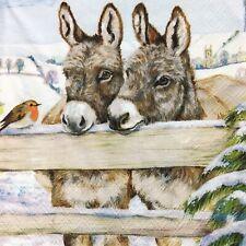 5  x   Paper Party Little Donkey Decoupage Christmas Napkin Art