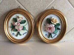 Vtg Set of 2 - Capodimonte Porcelain Flowers Oval Framed Wall Plaques Signed