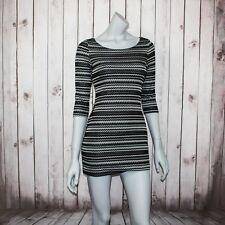 Joseph Ribkoff Women's Bodycon Mini Dress 3/4 Sleeve Black Stripe Sz 8