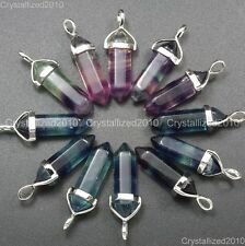 Natural Gemstone Multi-Colored Fluorite Hexagonal Pointed Healing Pendant Beads