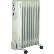 2000W 9 FIN PORTABLE OIL FILLED RADIATOR HEATER ELECTRICAL OFFICE HOME WHITE NEW